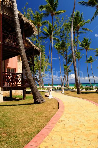 Tropische resort luxe hotel oceaan wal Stockfoto © elenaphoto