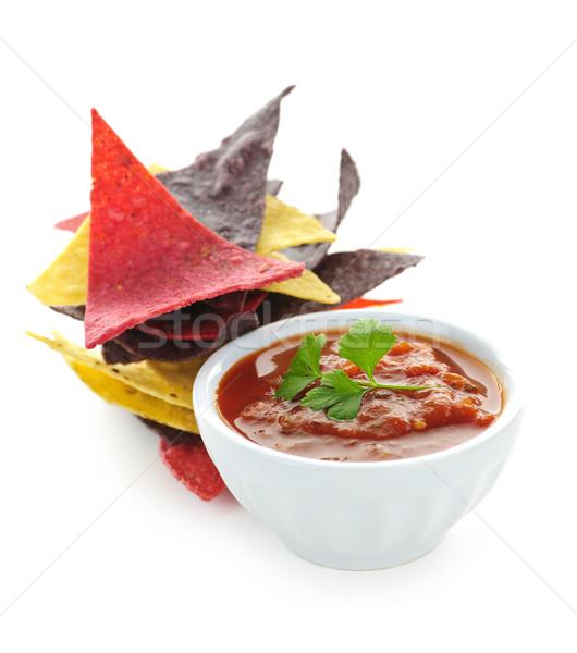 Tortilla chipy salsa puchar kolorowy odizolowany Zdjęcia stock © elenaphoto
