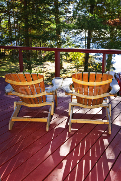 Forest cottage deck and chairs Stock photo © elenaphoto