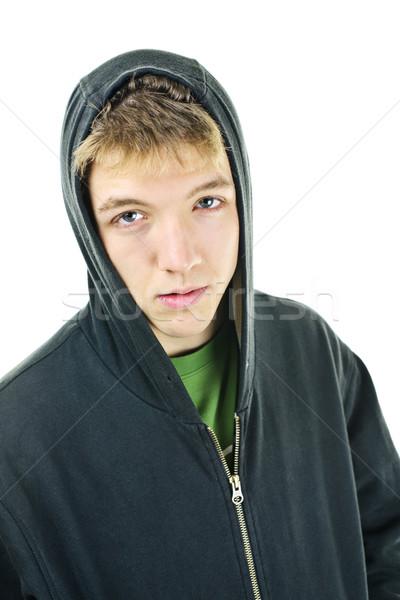 молодым человеком отношение изолированный белый человека Сток-фото © elenaphoto