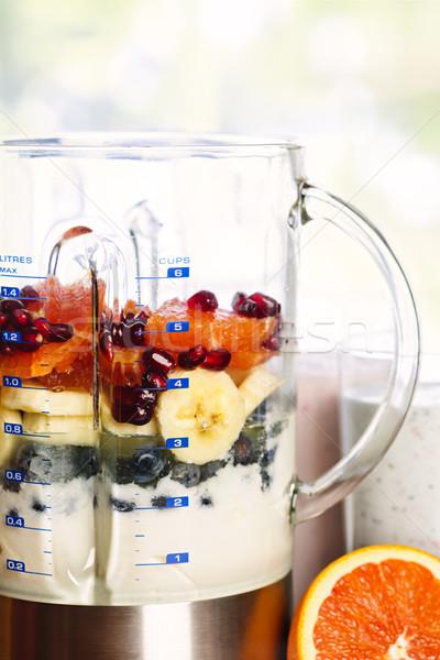 Blender with fruit and yogurt Stock photo © elenaphoto