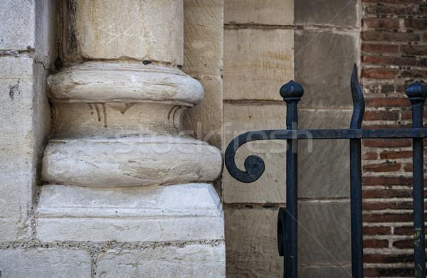 Pietra metal vecchio colonna fondo Foto d'archivio © elenaphoto