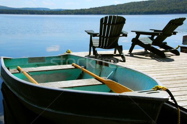 Chairs boat dock Stock photo © elenaphoto