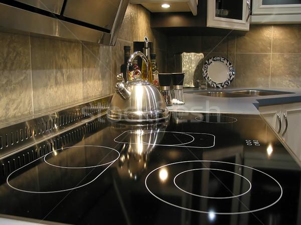 Moderne keuken interieur interieur keuken huis metaal Stockfoto © elenaphoto