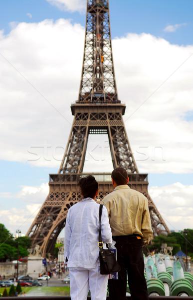 Tourists at Eiffel tower Stock photo © elenaphoto