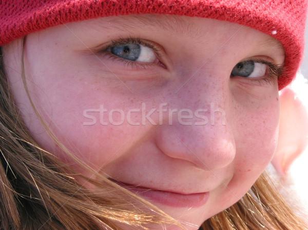 Sorriso ragazza ritratto sorridere cute rosso Foto d'archivio © elenaphoto