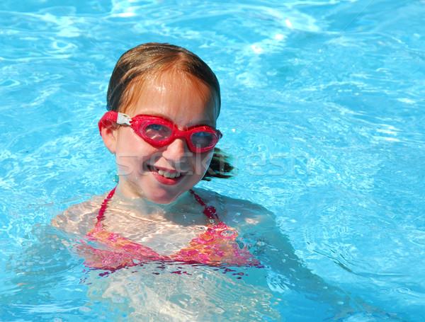 Girl swim pool Stock photo © elenaphoto