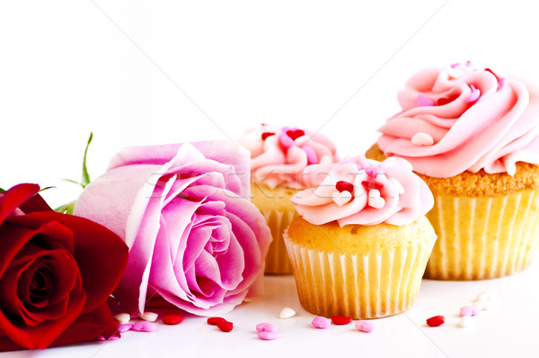 Stock photo: Cupcakes and flowers