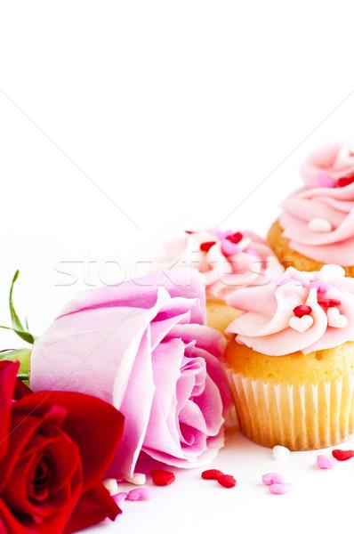 Cupcakes and flowers Stock photo © elenaphoto