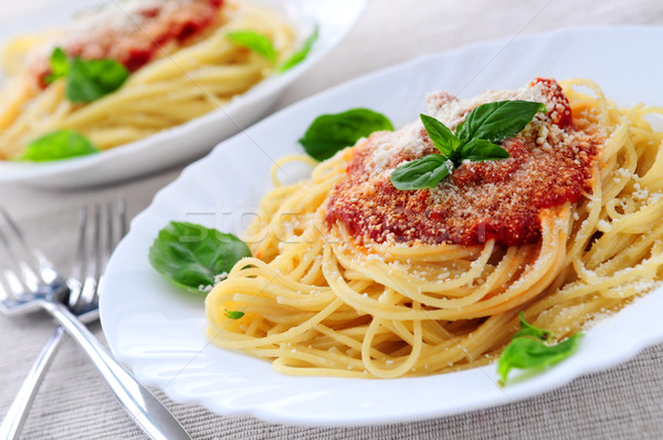 Stockfoto: Pasta · tomatensaus · basilicum · diner · eten · tomaat