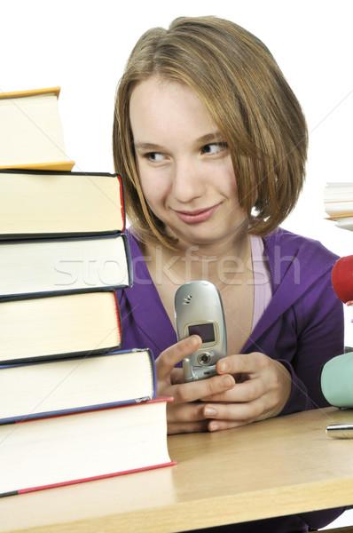 十代の少女 勉強 携帯電話 学校 少女 ストックフォト © elenaphoto