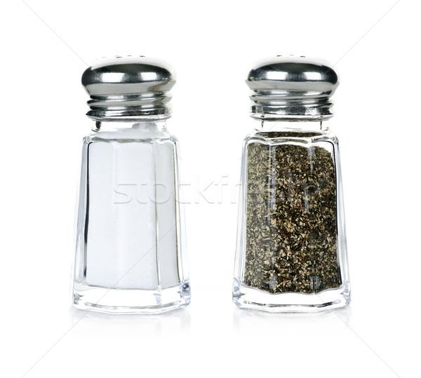 соль перец стекла изолированный белый фон Сток-фото © elenaphoto