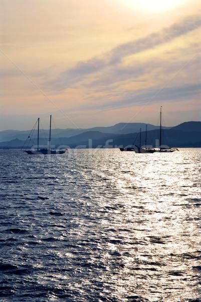 Anchored sailboats Stock photo © elenaphoto