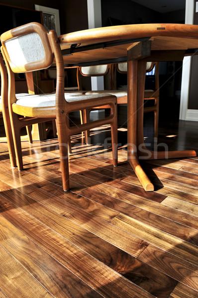 Piso de madeira madeira de lei piso residencial casa Foto stock © elenaphoto