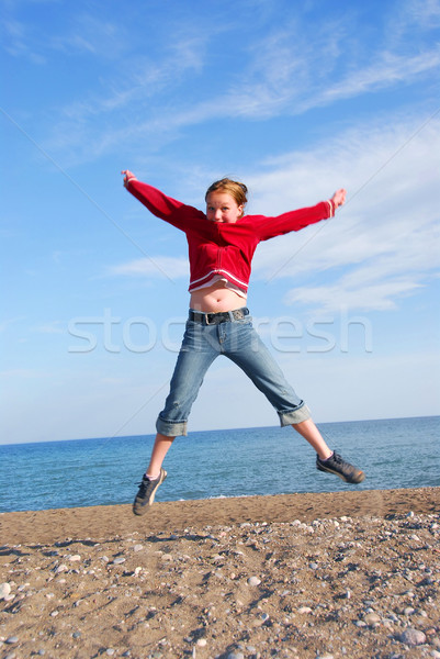 Girl child jumping Stock photo © elenaphoto