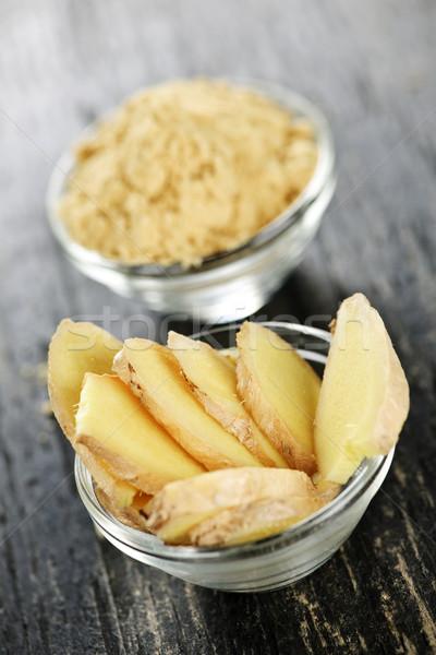 Sliced and ground ginger Stock photo © elenaphoto