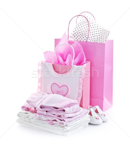 Rose bébé douche présente cadeau sacs Photo stock © elenaphoto