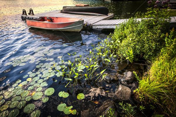 Roeiboot meer wal schemering dok mooie Stockfoto © elenaphoto