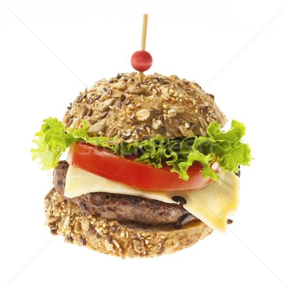 ストックフォト: グルメ · ハンバーガー · 白 · チーズ · 新鮮な野菜