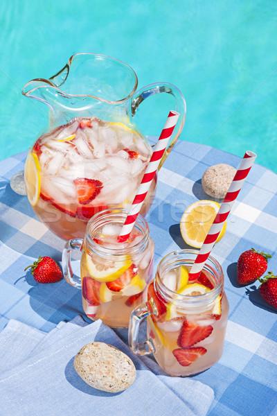 Foto stock: Morango · limonada · piscina · lado · gelo · frio
