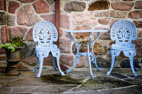Muro de piedra azul pintado metal aire libre Foto stock © elenaphoto