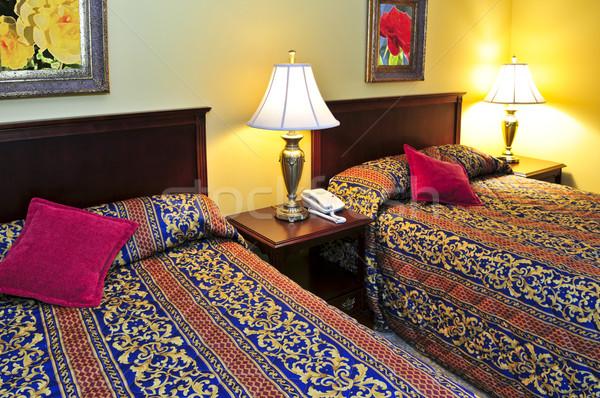 Yatak odası iç iki çift duvar Stok fotoğraf © elenaphoto
