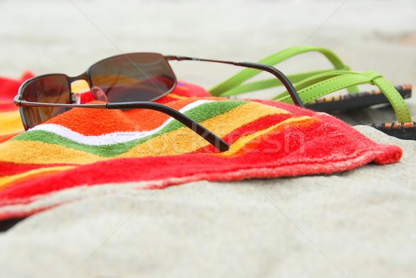 Beach items on sand Stock photo © elenaphoto