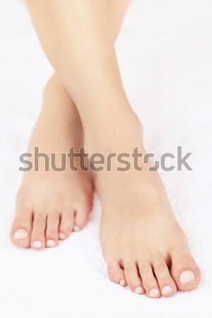 Női láb pedikűr puha közelkép nő Stock fotó © elenaphoto