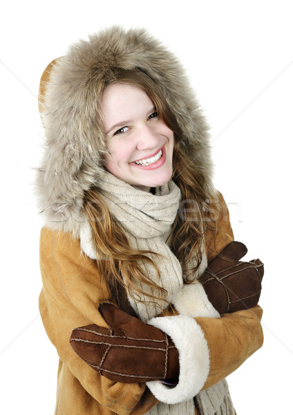Happy winter girl in hood Stock photo © elenaphoto