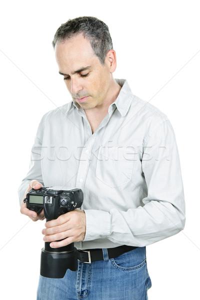 カメラマン カメラ 写真 デジタル一眼レフ 孤立した 白 ストックフォト © elenaphoto