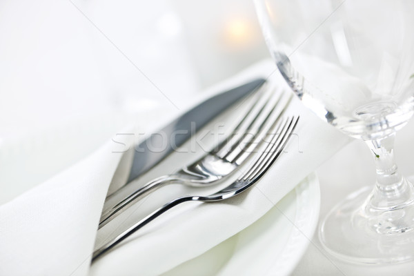 Table setting for fine dining Stock photo © elenaphoto