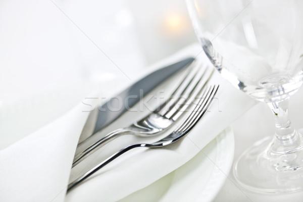 таблице Изысканные ужины элегантный ресторан пластин приборы Сток-фото © elenaphoto
