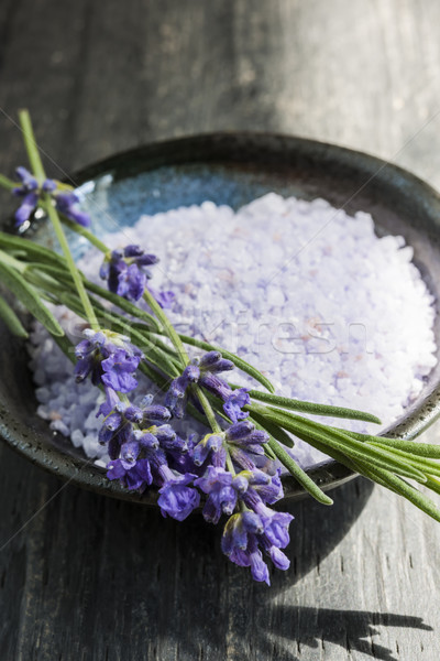 Lavender bath salts in dish Stock photo © elenaphoto