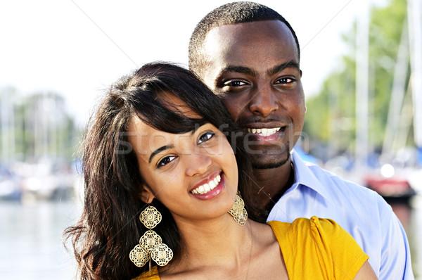 Portrait heureux couple jeunes romantique permanent Photo stock © elenaphoto