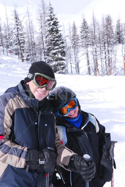Family skiing Stock photo © elenaphoto