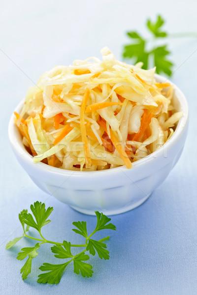 чаши капустный салат свежие синий белый морковь Сток-фото © elenaphoto