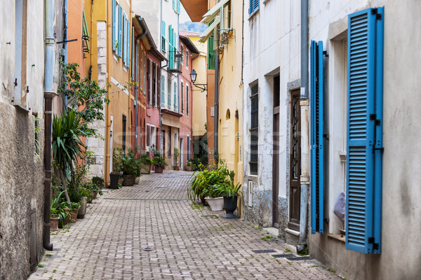 Old town street  in Villefranche-sur-Mer Stock photo © elenaphoto