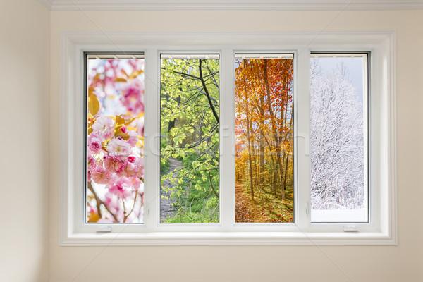 Okno widoku cztery pory roku domu wnętrza wiosną Zdjęcia stock © elenaphoto