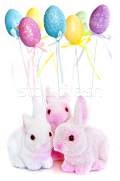 Easter Bunny speelgoed cute ballonnen geïsoleerd witte Stockfoto © elenaphoto