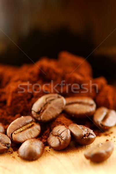 Kahve çekirdekleri zemin kahve makro görüntü siyah kahve Stok fotoğraf © elenaphoto