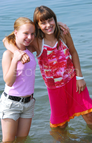 Two preteen girls Stock photo © elenaphoto