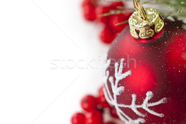 Сток-фото: красный · Рождества · орнамент · границе · украшение · соснового