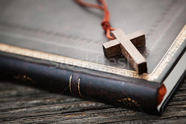 Cross on Bible Stock photo © elenaphoto