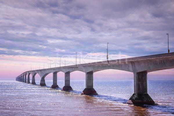 Puente puesta de sol Canadá isla del príncipe eduardo agua carretera Foto stock © elenaphoto