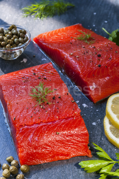 Wild salmon steaks Stock photo © elenaphoto