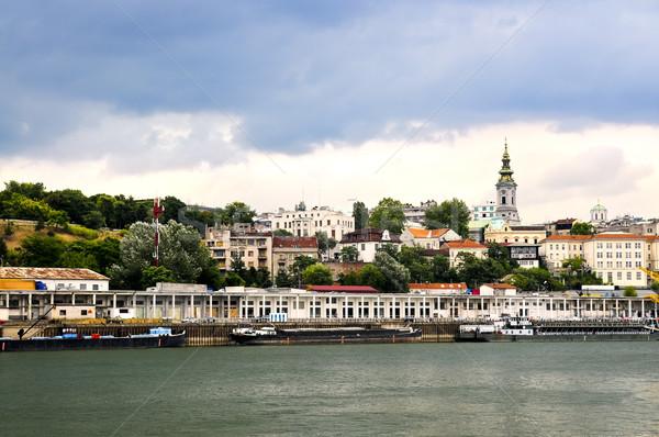 Belgrade cityscape danube vue ville rivière Photo stock © elenaphoto
