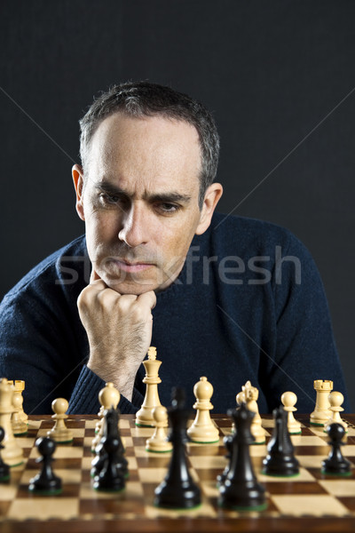 Adam satranç tahtası satranç tahtası düşünme satranç strateji Stok fotoğraf © elenaphoto
