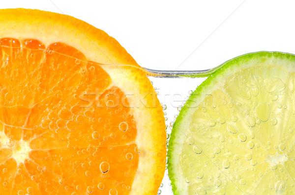 Foto stock: Naranja · cal · rebanadas · agua · aire · burbujas