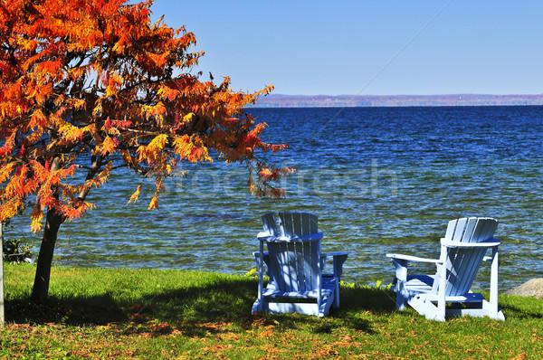Wooden chairs on autumn lake Stock photo © elenaphoto