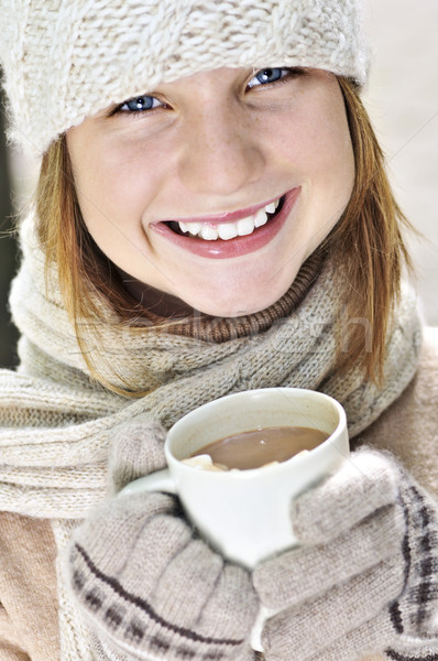 Foto stock: Inverno · menina · seis · copo · chocolate · quente